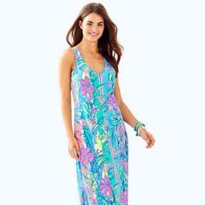 "NWT Lilly Pulitzer Kerri maxi dress ""easy tiger"" M"